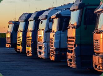 A foto mostra varios caminhões de cor cinza alinhados